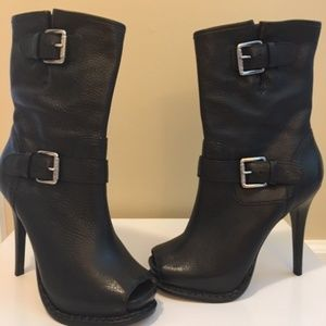 KORS Collection Iona Black Leather Boots New